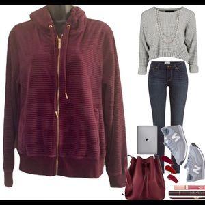 Calvin Klein Plum purple velvet hoodie size M